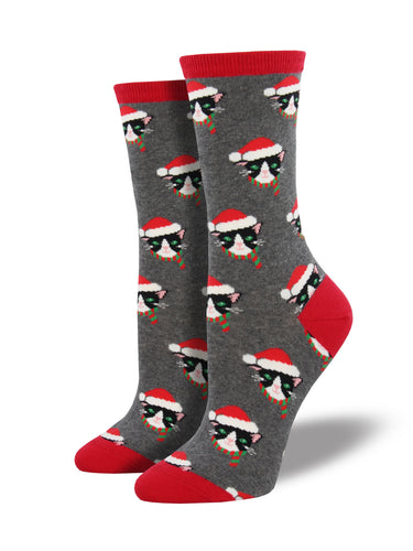 Women's Santa Cats Socks - Grey
