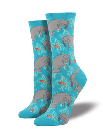 Women's Manatee Socks - Blue