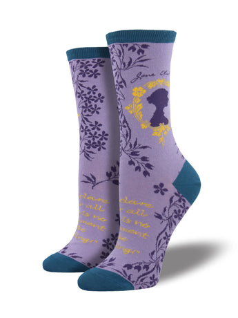 Women's Jane Austen Book Socks - Lavender