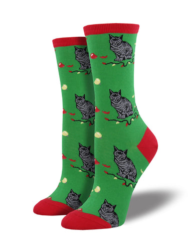 Women's Christmas Cat Socks - Green