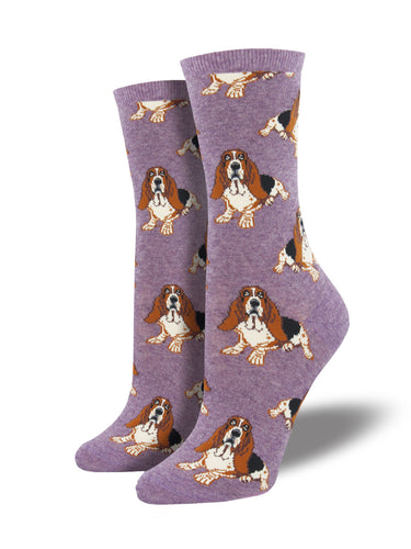 Women's Hound Dog Socks - Lavender