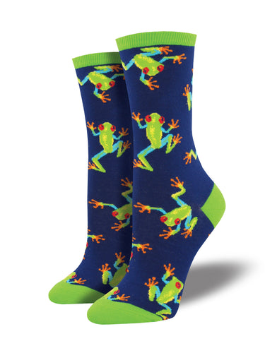 Women's Tree Frog Socks - Navy