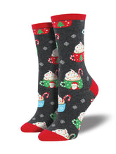 Women's Christmas Cocoa Socks - Charcoal