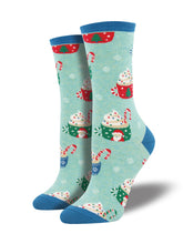 Women's Christmas Cocoa Socks - Mint