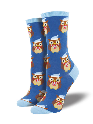 Women's Winter Owl Socks - Periwinkle