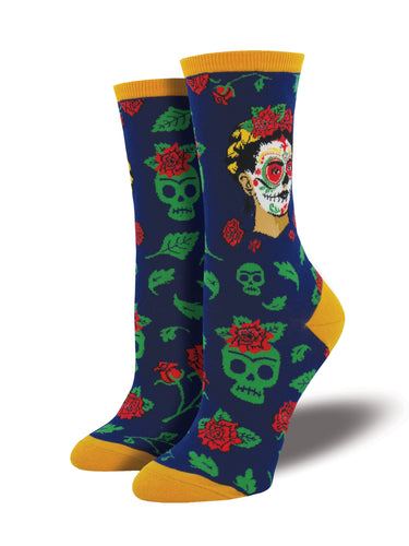 Women's Dia de los Frida Socks - Navy