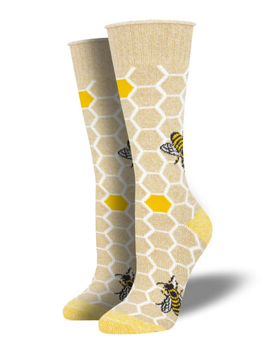 Recycled Cotton - Honey Bee Socks Made In USA | Socksmith