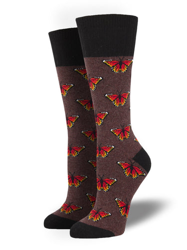 Recycled Wool - Monarch Butterfly Socks Made In USA | Socksmith