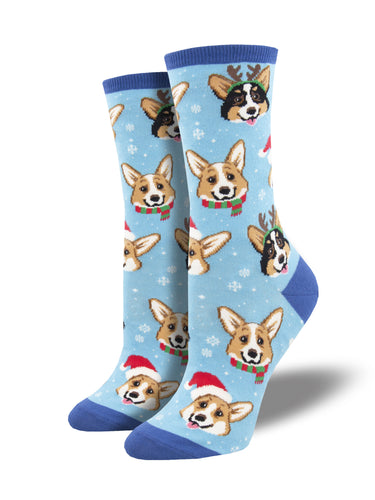 Fun Chirstmas Corgi Socks for Women | Socksmith