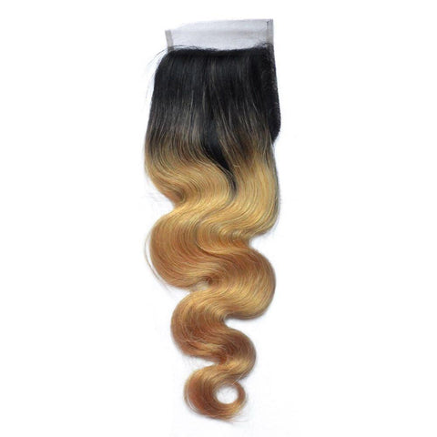 Brazilian Virgin Human Hair Body Wave 1B/27 Closure