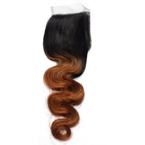 Brazilian Remy Virgin Human Hair Body Wave Closure Ombre 1B/30