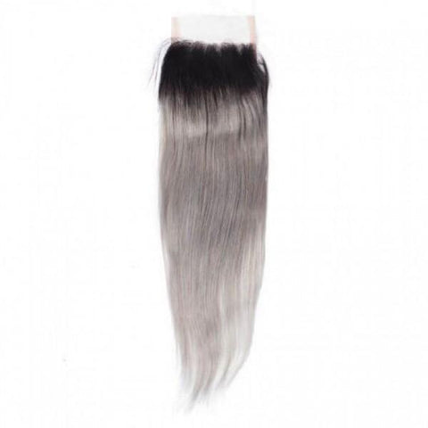 Brazilian Virgin Remy Human Straight Hair 1B/grey Closure
