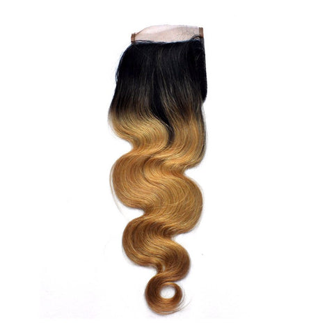 Brazilian Remy Virgin Human Hair Body Wave Closure Ombre 1B/27