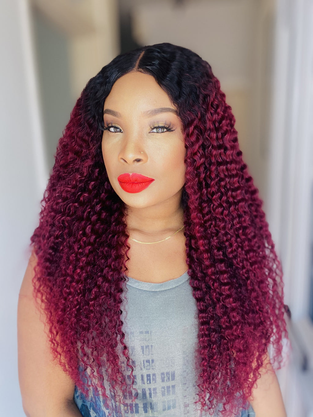 Deep Wave Burgundy Wig