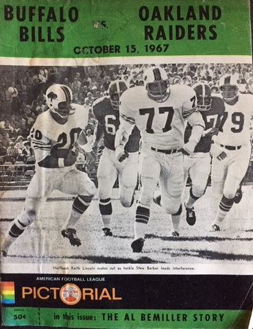 October 15, 1967 Buffalo vs Oakland Program