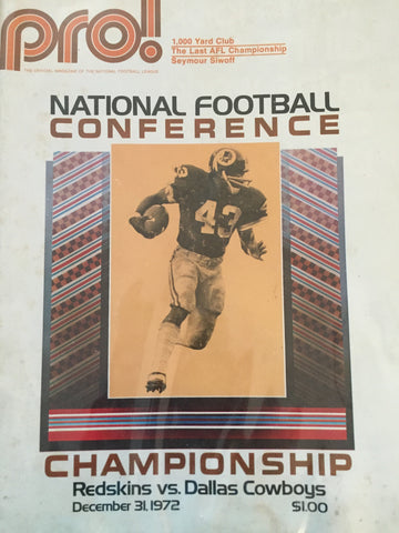 December 31, 1972 National Football Conference Championship Redskins vs Cowboys