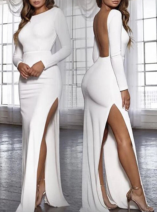 Backless Sexy Long Sleeve High Side Split Bodycon Dress