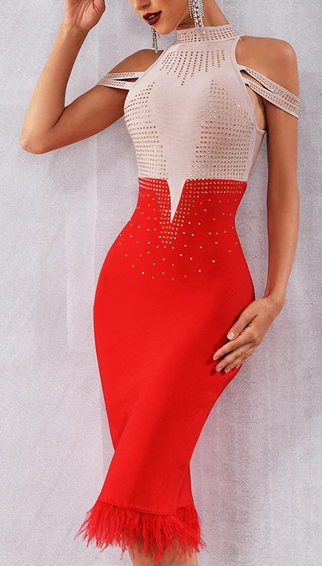 Elegant Off Shoulder Sexy Feather Bodycon Dress