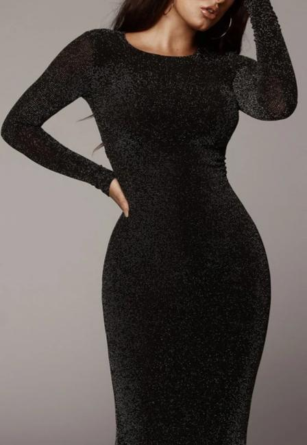 Shiny Long Sleeve High Waist Sexy Midi Dress