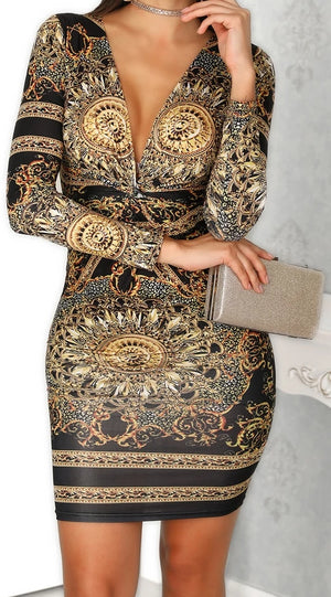 Sexy Deep V-neck Palace Print Bodycon Dress