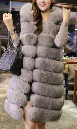 Long Fur Vest Luxury Faux Fox Jacket