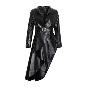 PU Leather Women's Trench Lapel Collar Long Sleeve Jacket