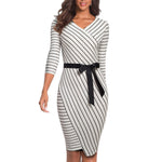 Striped Elegant Business Dress