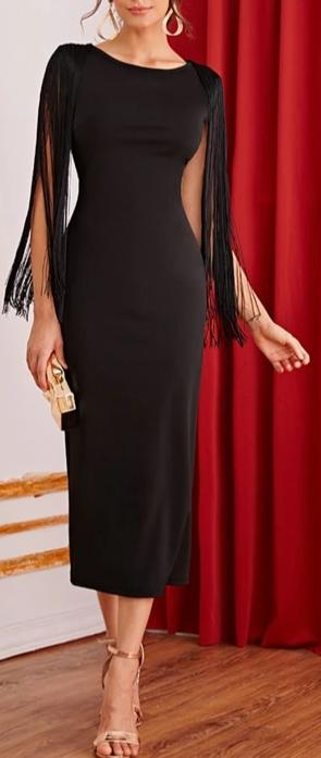 Black Solid Fringe Detail Split Back Dress