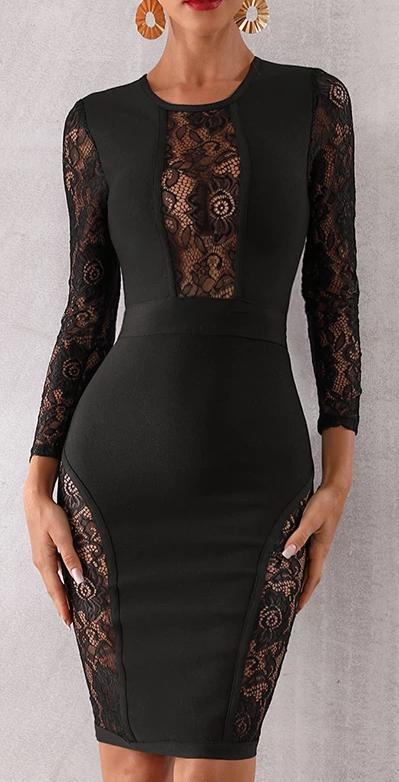 Lace Long Sleeve Bandage Dress