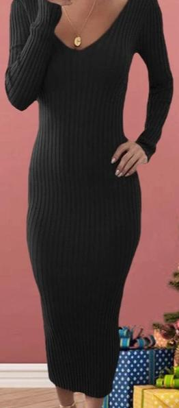 Knitted V-Neck Midi Dress