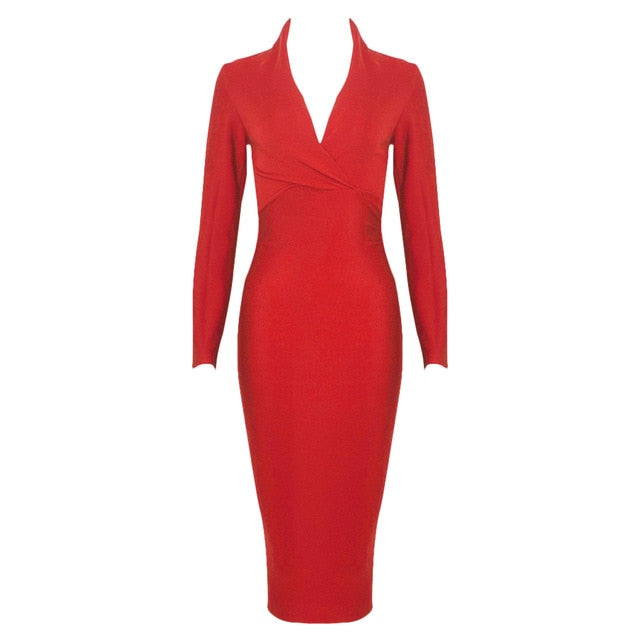 Long Sleeve Deep V Neck Bodycon Dress