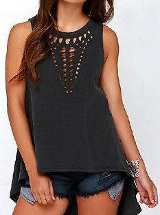 Black Hollow Out Sleeveless Tank Top