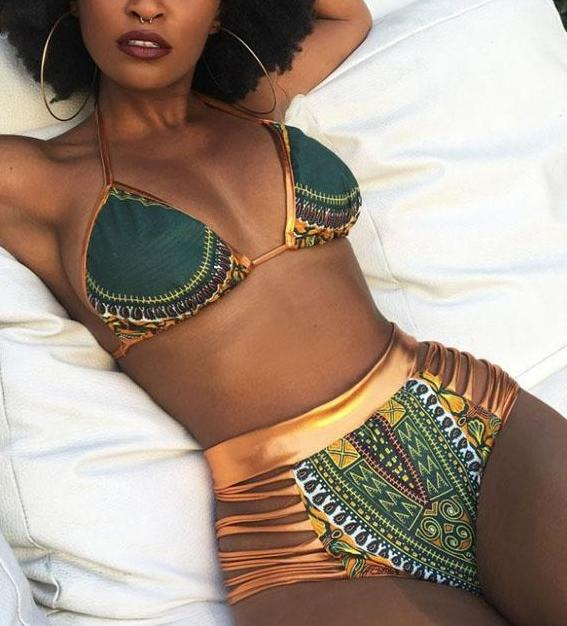 New African Print Two-Piece Bikini Set Swimsuit