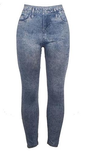 Blue Stretch Imitation Jeans Leggings