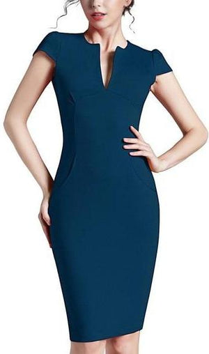 Solid Deep V Neck Zipper Back Business Dress