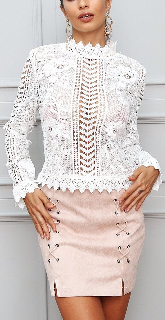 Sexy White or Black Long Sleeve lace Top