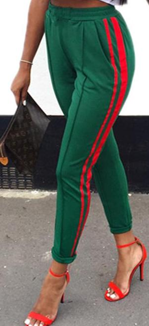 Green Striped Sporting Pants