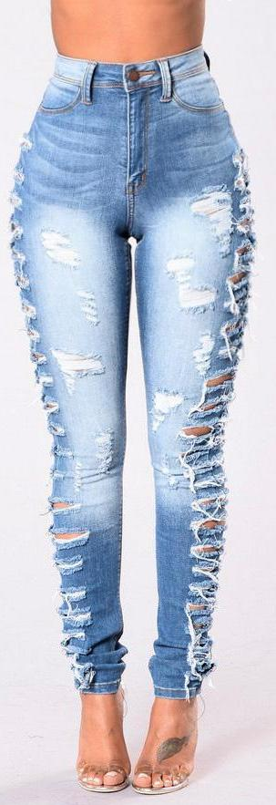 Ripped Side Skinny Jeans