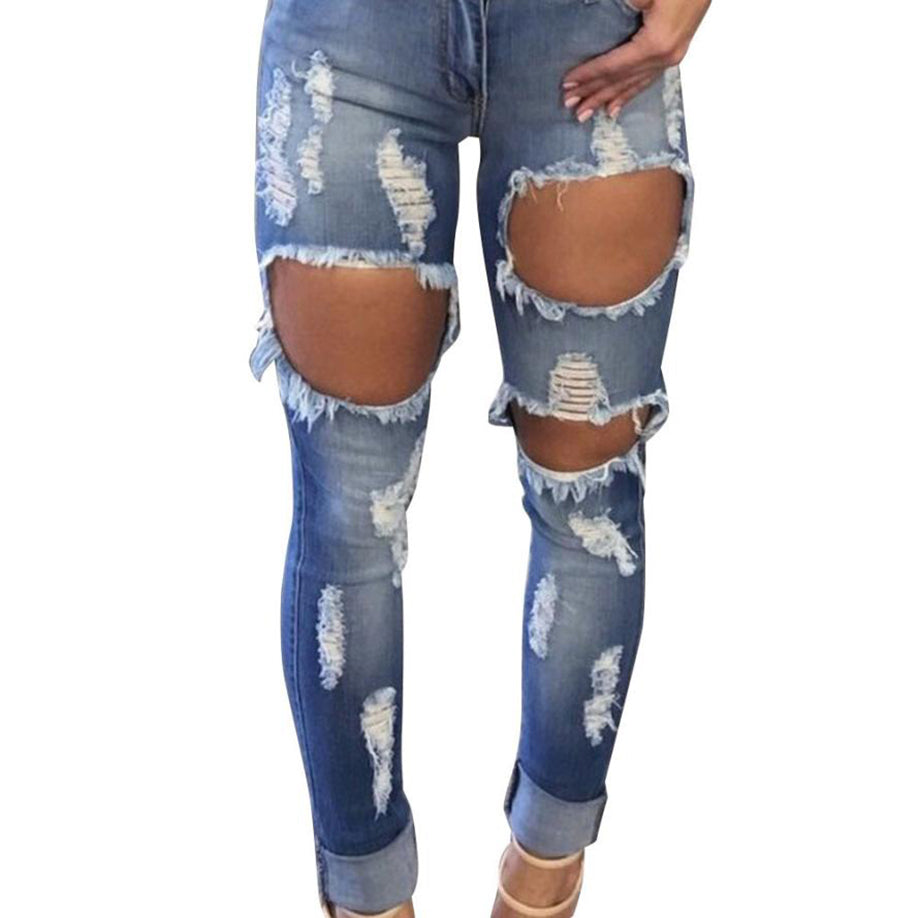 Hole Destroyed Ripped Distressed Leggings