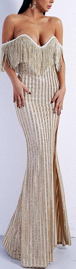 Elegant Off Shoulder Tassel Glitter High Split  Maxi Dress
