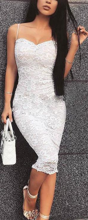 Lace Spaghetti Strap Knee-Length Bodycon Dress
