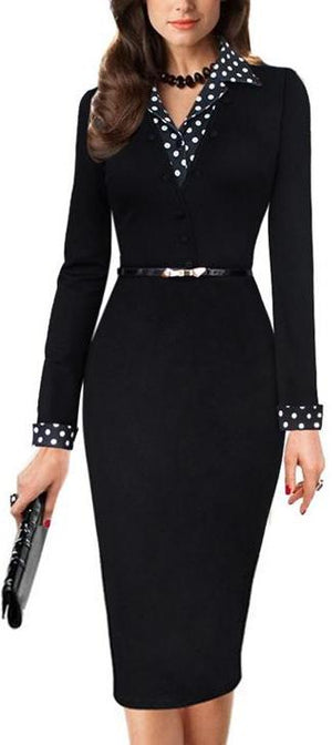 Black Formal Elegant Polka Dot Office Dress