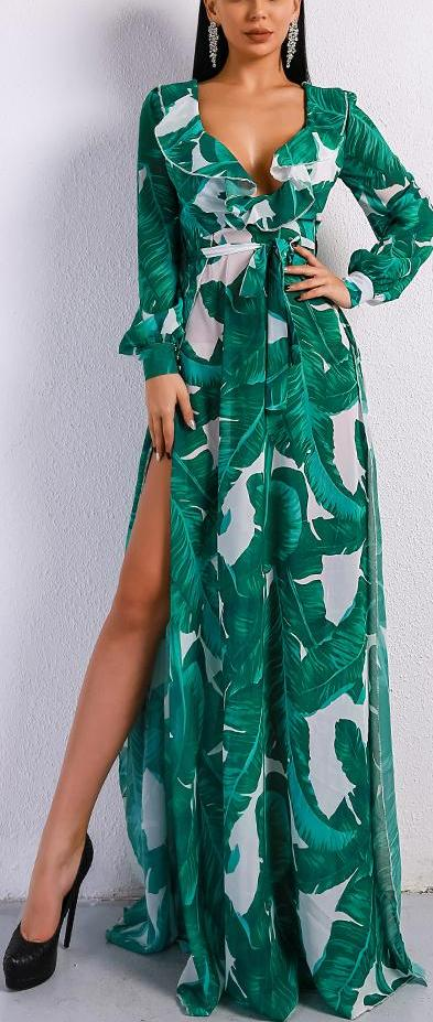 Summer Deep V Two Split Print Beach Dress