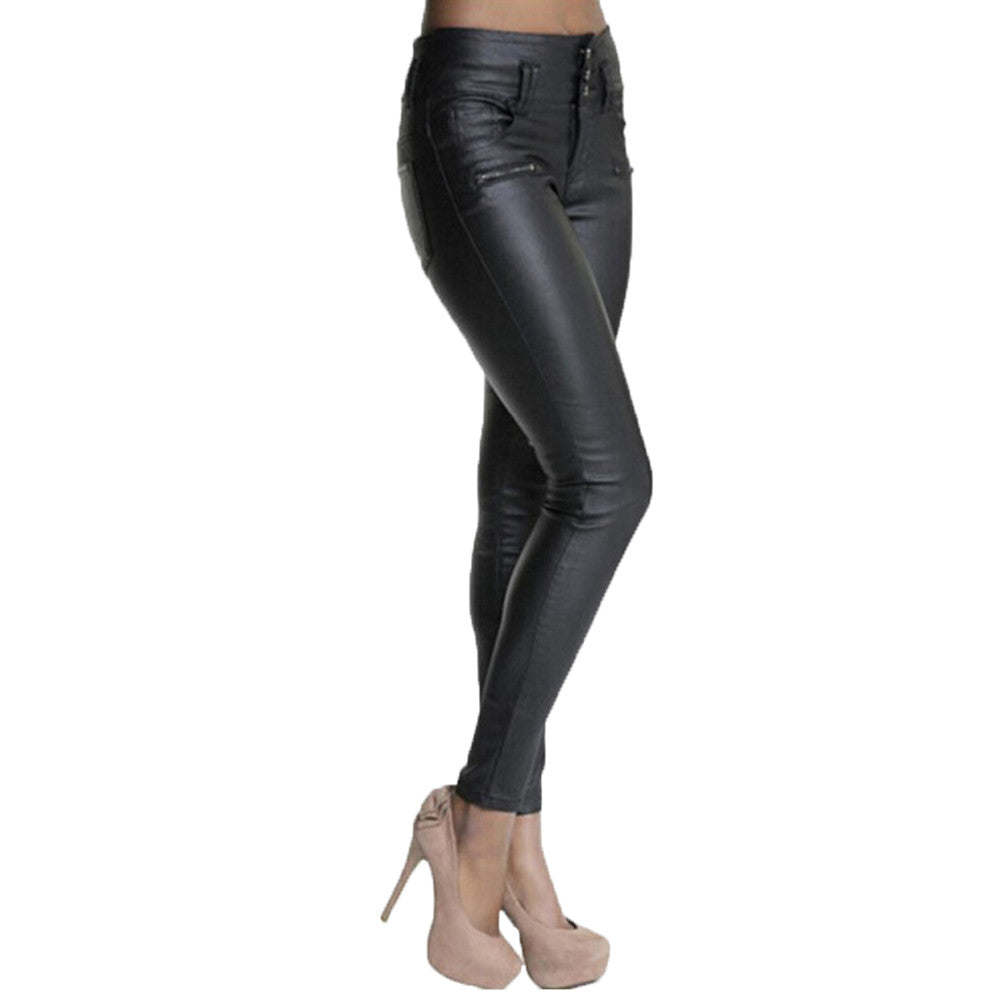 Black Leather Stretch Leggings