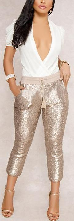Bling Sequined Calf-Length Pants
