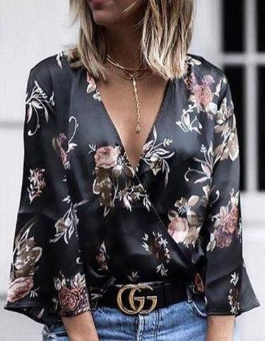 V Neck Floral Printed Casual Blouse Top