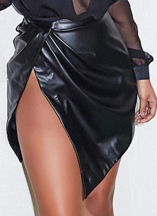 Sexy Side Split Soft PU Leather Skirt