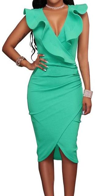 Sleeveless V Neck Pencil Bodycon Dress
