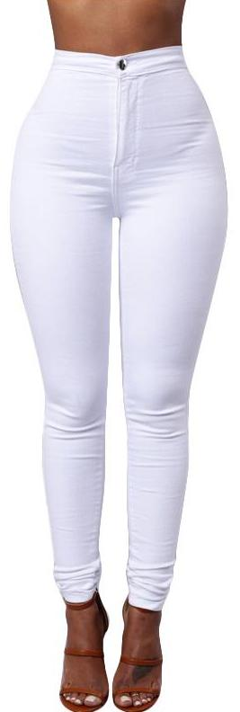 White Pencil Stretch Jeans