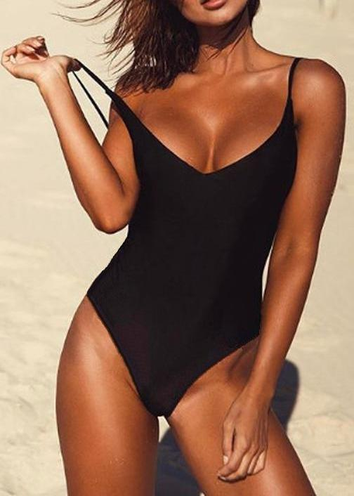 One Piece Solid Thong Backless Swimsuit
